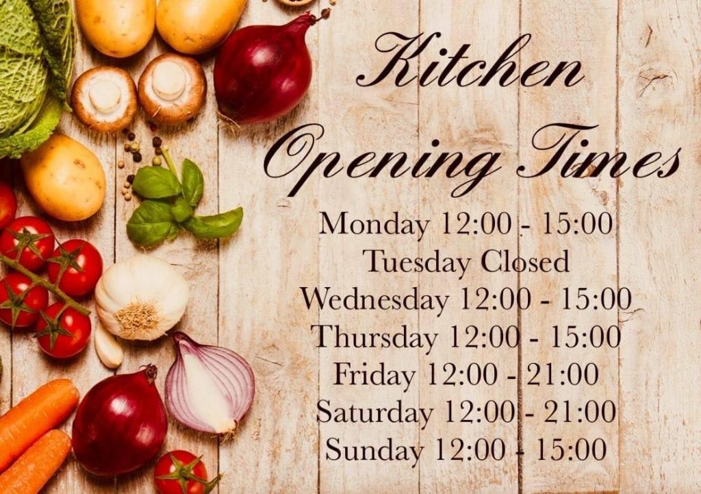 Kitchen opening hours