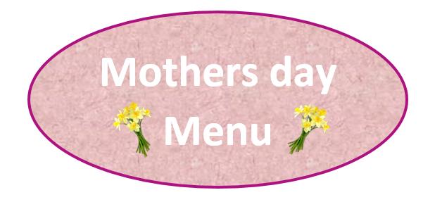 Mothersday Menu